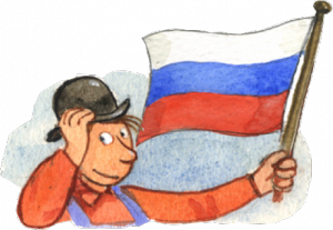 Mulle Meck med rysk flagga